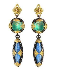 Y2DTB Armenta Kyanite, Green Turquoise & Diamond Double-Drop Earrings