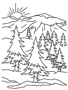 Mountain Scene Printable Coloring Page, from Nature Coloring Pages category. Find out more coloring sheets here. Forest Coloring Pages, Coloring Pages Nature, Summer Coloring Pages, Cat Coloring Page, Animal Coloring Pages, Coloring Pages To Print, Coloring Book Pages, Printable Coloring Pages, Coloring Pages For Kids