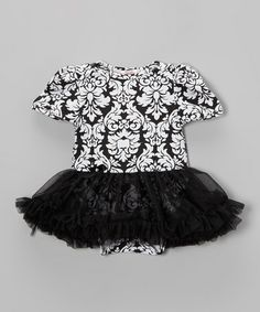 Another great find on #zulily! Black Damask Skirted Bodysuit - Infant by Mooncakes #zulilyfinds