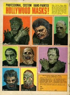 Mask ad..in back of Famous Monsters magazine. I'd always wanted to send away for one of these!