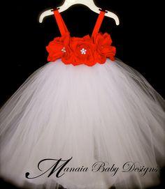 Christmas Tutu Dress / Red Rose Christmas by ManaiaBabyDesigns