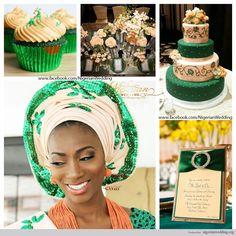 nigerian wedding emerald green and peach trad wedding color scheme