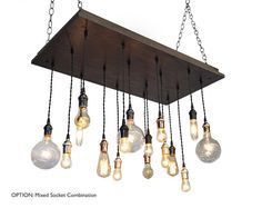 Industrial Chandelier With Mixed Metal Sockets - Perfect Dining Room Light