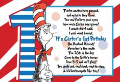 Dr Suess 1st Birthday Postcard Invitation by PinkBuckCreations
