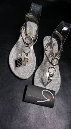 """Women's Sandals, Model: """"Brilla Brilla"""" in Silver, Elegant Party Sandals, Sparkly Sandals, Perfect for Special Ocassions"""