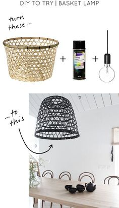 DIY basket pendant light (I need to do this but paint it turquoise for my bright little kitchen nook)