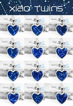 Handmade Resin Constellation Sign Silver Heart-shape Picture Locket Necklace