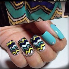 Ikat chevron nail art design inspired by cute top -- China Glaze For Audrey, Recycle, First Mate and Orly Spark