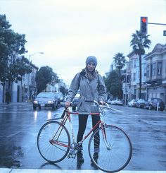 Forget fair weather, this girl rides rain or shine. Respect.