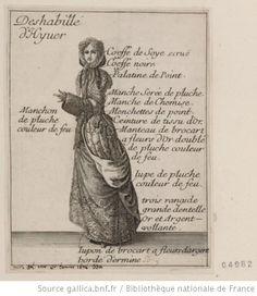 Costume de femme. Deshabillé d'Hyver. Coeffe de soye ecrue...
