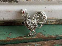 Vintage BSK Rooster/Chicken Brooch Faux Marcasite rhinestones Red Eyes Silver by Holliezhobbiez on Etsy