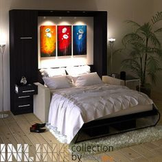 Inline murphy bed with hutch and inline sofa bunk karyola ba Murphy Bed With Sofa, Murphy Bed Desk, Best Murphy Bed, Modern Murphy Beds, Murphy Bed Plans, Inline, Bed Wall, Decorate Your Room, Yurts