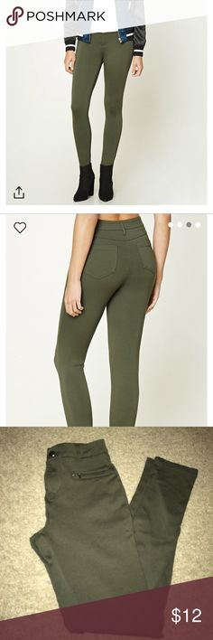 Army green jeggings skinny fit Army green jeggings skinny fit new without tags Forever 21 Jeans Skinny
