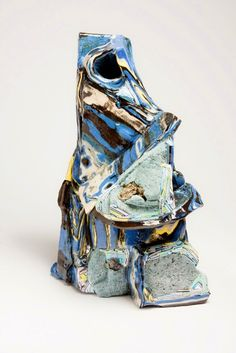"Hilary Harnischfeger, ""Untitled,"" 2011, porcelain, pigment, paper, dye, crushed glass, plaster, pyrite, 14 x 8 1/2 x 8 inches, 35.6 x 21.6 x 20.3 cm"