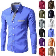 Long Sleeve Slim Men Shirt (13 Colors)