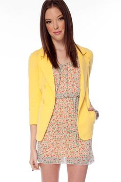 Ellison Cotton Blazer in Yellow