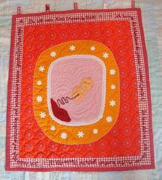 """Wanddeko - Wandkunst Quilt """" Du bist mein Kind""""  - ein Designerstück von Wilhelmine-Wiesenkraut bei DaWanda"""