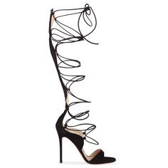 Gianvito Rossi Lace Up Sandals (£565) ❤ liked on Polyvore featuring shoes, sandals, heels, high heels, black shoes, black heel shoes, suede lace up sandals, black suede sandals, open toe high heel sandals and open toe sandals
