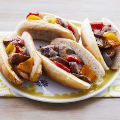 sheet pan sausage and pepper hoagies Greek Chicken And Potatoes, Chicken And Vegetables, Sausage And Peppers, Stuffed Peppers, Food Network Recipes, Cooking Recipes, Italian Sausage Recipes, Tacos, Sheet Pan Suppers