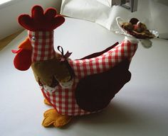 Little red rooster,red felt and gingham chicken,red hen,stuffed chicken,plushie,childrens toy,chicken ornament,novelty,HANDMADE BY FRALINE by fraline on Etsy