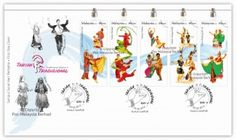 Traditional Dances stamps Malaysia 2nd series with hand painted designs FDC