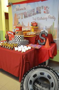 Cars Lightning Mcqueen birthday party! See more party planning ideas at CatchMyParty.com!