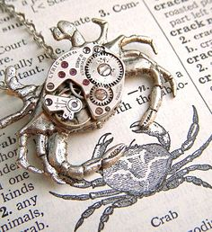 Steampunk Necklace Silver Plated Nautical Crab Jewelry Vintage Watch Movement Gothic Victorian Steam Punk Antiqued Rustic Primitive Finish