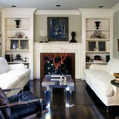 Living Room Built In Bookcase Design, Pictures, Remodel, Decor and Ideas - page… Fireplace Bookshelves, Fireplace Built Ins, Bookshelves Built In, Fireplace Surrounds, Fireplace Design, Fireplace Wall, Bookshelves Tv, Cottage Fireplace, Fireplace Modern