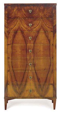 Biedermeier walnut semanier circa 1820. Natural wood textures are too cool