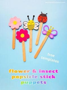 Easy Flower & Insect Puppets (Free Templates to Use With Popsicle Sticks) | MomsWhoSave.com #free #papercrafts #kidscrafts #crafts #summer #bugs #insects #preschoolcrafts #craftsforkids #popsiclestickcrafts Bug Crafts, Preschool Crafts, Home Crafts, Diy And Crafts, Arts And Crafts, Paper Crafts, Popsicle Stick Crafts, Popsicle Sticks, Creative Kids