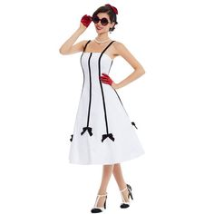 Cheap 1950s retro dresses, Buy Quality retro dress directly from China party dresses Suppliers: Sisjuly Women 2017 Vintage Party Dress White Patchwork Rockabilly Strapless Mid Calf  Female Spaghetti Strap 1950s Retro Dresses