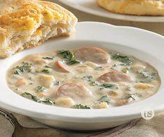 Sausage & Potato Soup Recipe │This one-pot creamy sausage, potato and kale soup comes together under 60 minutes.