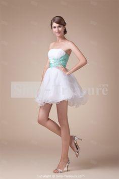 White Elastic Woven Satin/Taffeta/Organza Strapless Sleeveless A-Line Beading Cocktail Dress/Homecoming Dress