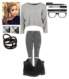 """Gray and Black☑️"" by thisisvintage ❤ liked on Polyvore featuring Ray-Ban, Topshop, Timberland, shu uemura, NARS Cosmetics, Waterford and Repossi"