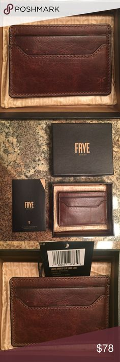 """Frye Logan Leather Money Clip Card Case For Men Made from antique pull up Italian leather Antique metal hardware 2 3/4"""" height and 4"""" width Three interior pockets and a money clip at the exterior Color: Dark Brown Includes box with tissue paper and booklet Frye Accessories Money Clips"""