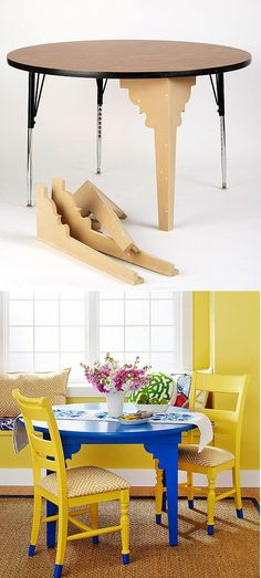 Cool idea to upscale an old folding table. Like the touch of color on the bottom of the chair legs too. furniture transformations Nice Legs: 20 Fun Furniture Legs to Buy or DIY Furniture Legs, Furniture Projects, Furniture Making, Furniture Makeover, Home Projects, Furniture Outlet, Furniture Stores, Discount Furniture, Furniture Cleaning