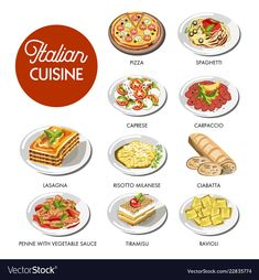 Italian cuisine food traditional dishes of pasta spaghetti, pizza or lasagna mea. Pasta Dishes, Food Dishes, Raw Zucchini Salad, How To Make Omelette, Food Doodles, Tiramisu Dessert, Food Sketch, Food & Wine Magazine, Italy Food
