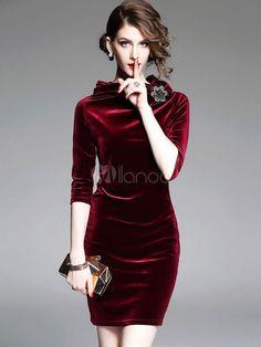 Velour Bodycon Dress High Collar 3/4 Length Sleeve 3D Flower Decor Ruched Women's Red Sheath Dress