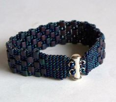 Fantastic Metallic and Matte Cube Beads Beadwoven Cuff Bracelet - Sm/Med, $32.0