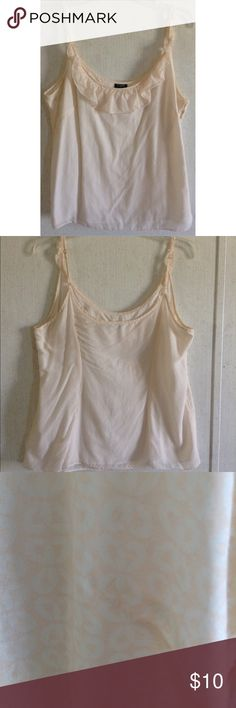 J Crew Blush Ruffle Tank Top No size tag. The strap were sewn to be one length, now removed so there are some tiny unnoticeable holes. Small light stain on the front. Small run on the back. J Crew tank top. Light blush color. White geometric print. Cute ruffle on the front and up the straps. Adjustable spaghetti straps. No fabric tag, but it feels like light cotton or a silk cotton blend. Lined inside but probably still see-through. Zipper up the side. Measures to be a large, 14. J. Crew…