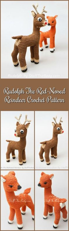 Rudolph The Red-Nosed Reindeer Free Pattern Modification + Fawn Amigurumi Pattern, Christmas Crochet Gift, xmas present, home decor, winter #etsy #ad #crochet #amigurumi #pdf