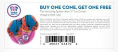 Baskin Robbins - Buy One Get One FREE Ice Cream Cone (Printable Coupon)
