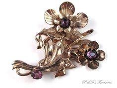 "Vintage Marked STERLING SILVER Gold Wash Purple Rhinestone FLOWER BROOCH 3"""