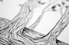 Tree Illustration Original Ink Pen Drawing of by sometimesiswirl