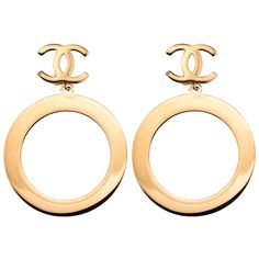 VINTAGE CHANEL MASSIVE DANGLING HOOP EARRINGS   From a unique collection of vintage clip-on earrings at http://www.1stdibs.com/jewelry/earrings/clip-on-earrings/