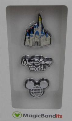 Disney-Parks-Magic-Band-Bandits-Cinderella-Castle-Wrist-Charms-Set-of-3-New