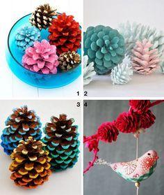 Tannenzapfen in kräftigen Farben färben - coole Dekoidee