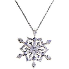Pre-owned Diamond Star Snowflake Gold Pendant Necklace ($7,500) ❤ liked on Polyvore featuring jewelry, necklaces, necklace enhancers, gold chain link necklace, chain link necklace, long chain necklace, snowflake necklace and pendants & necklaces