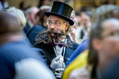 A contestant with a funky beard is seen at the World Beard And Mustache Championships in Leogang, Austria. Beards And Mustaches, Moustaches, Full Beard, Epic Beard, Beard Competition, Tim Burton Films, Strange Photos, Awesome Beards, Hair Raising