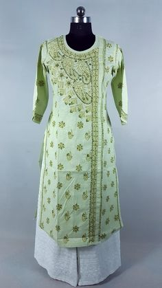 Lovely green in Angrakha with hand needle embroidered Chikankari Kurta Designs Women, Dresses With Sleeves, Women's Fashion, Suits, Lady, Long Sleeve, Green, Fashion Women, Costumes